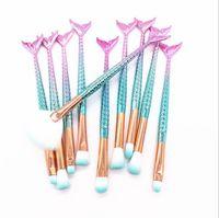 Marke Professionelle 10 STÜCKE / set Meerjungfrau Make-Up Pinsel Set Foundation Blending Puder Lidschatten Kontur Concealer Blush Kosmetik Make-Up-Tool