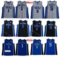 Mann Jugend Zion Williamson Jersey 1 Männer College Duke Blue Devils Kinder RJ Barrett Jersey 5 Universität Team Farbe Blau Schwarz Weiß