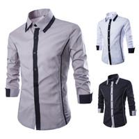 Camisas de vestir para hombre de color de contraste de moda Camisa de negocios de oficina de manga larga Slim Fit Camisas sociales casuales Masculinas 1413-CS13