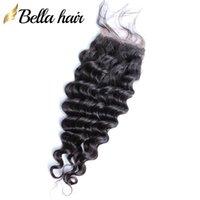Белла волос глубокая волна кружева закрытие бесплатный часть 4х4 Малайзийских необработанные Девы человеческих волос закрытие с ребенком волос Бесплатная доставка