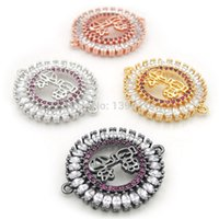 21*18*3mm Micro Pave Clear&Fuchsine CZ Boy Girl Round Connec...