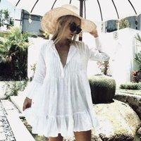 2019 NEUE Frauen-weiße lange Hülse Süße Feiertags-Rüschen-Bikini-Vertuschung Badebekleidung Sommer-Strand-lose Bluse Shirt-Kleid
