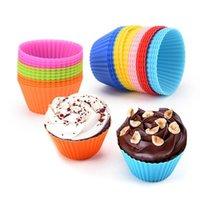 Casos sete centímetros Silicone Cupcake Moldes Muffin Moldes do queque Non-Stick resistente ao calor Baking Moldes Food Grade da cor dos doces