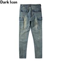 Scuro lavaggio vintage Jeans aderenti Uomini laterale Tasche Jeans denim Pantaloni Spandex degli uomini di alto della strada