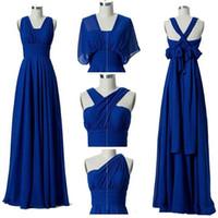 Bohemian Chiffon Beach Beidesmaid платья 2020 Royal Blue Dange Wedding Guest Dress Convertible Bridesmaid платья 100% Real Photo