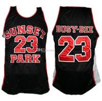 مشغول النحل # 23 الغروب الأحمر أسود بارك فيلم الرجعية كرة السلة الفانيلة رجل مخيط مخصص أي رقم الاسم
