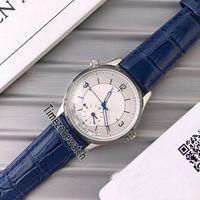 Новый Master Control 1428530 Стальной Корпус Серебряный Циферблат Автоматические Мужские Часы Синяя Кожа Дата Сапфир Часы 4 Цвета Дешевые Timezonewatch E11
