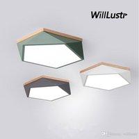 هندسة ضوء السقف LED مصباح أخضر رمادي أصفر أبيض أسود معكرون اللون ضوء الخشب الحديد الماس غرفة نوم مطعم غرفة الطعام