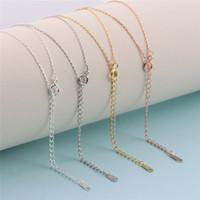 S925 Stamped link Collana 44cm Argento 925 Girocollo collana misura per il pendente in oro rosa platino Gioielli fai da te accessori Fare