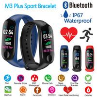 M3 플러스 스마트 팔찌 심장 박동 혈압 전화 SMS 멀티 스포츠 모드 날씨 자동 밝은 화면 미 밴드 3 팔찌