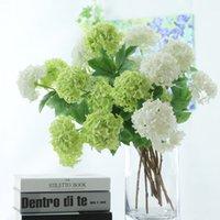 2 kafaları Yapay Ortanca Topu Çiçekler Beyaz Kartopu Flores Ev Partisi Düğün Dekor Noel Güz Süslemeleri Sahte Çiçek