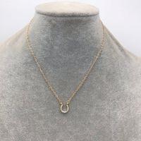 Mode en stock bijoux courts de diamant pour femmes plaquées en cristal cristal strass pavé minuscule Collier pendentif en fer à cheval