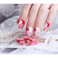 24pcs / boîte arrière avec de la colle 3D Fleur presse Faux ongles sur ongles artificiels mariée de mariage de couleur rouge dentelle pleine couverture ongles Faux
