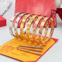 Bracelete de aço inoxidável do parafuso de aço inoxidável do ouro 316L Rose com chave de fenda e parafusos de pedra com a caixa frete grátis