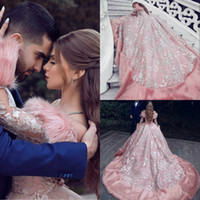 Luxury A Line Prom Dresses 2019 Long Sleeves Lace Applique F...
