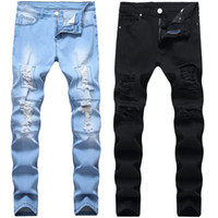 Мужские Омывается изношенные джинсы Мода Джинсовые штаны Elastic Малый прямой трубе Tight Fit Молодёжная мода Мужские джинсы Брюки 28-42
