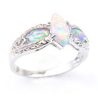 10 Pcs lot Mode blanc opale de feu pierres précieuses argent 925 plaqué Bague Russie Amérique Weddings Australie Bijoux Bague pour les femmes
