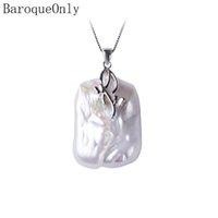 Baroqueonly collier de pendentif perle d'eau douce naturelle baroque, 18-23mm, pendentif en argent Sterling pendentif bijoux pour les femmes J190718