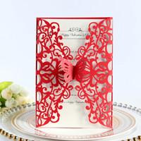 Tarjeta de boda de mariposa roja Invitación Floral Láser Corte Bridal Ducha Invitaciones DIY Hollow Girls Cumpleaños Cena Invitaciones