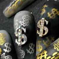 5 / 10pcs prego Coin Dinheiro Dólar 3D Alloy Art Decoração Pedrinhas Gems metal Nails Acessórios DIY Encantos prego Jóias