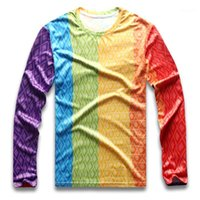 T-shirts Hommes Rainbow T-shirt T-shirt T-shirt Pour Hommes Coloré Vertical Stripe Homme Pride Gay Rond Col À Manches longue Manches Longues Sre Dry Boy Shey Boy Party1