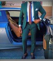 맞춤 제작 신랑 들러리 녹색 신랑 턱시도 노치 라펠 남성이 결혼식 들러리 신랑 재킷 정장 (재킷 + 바지 + 넥타이) L297