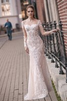 2019 Milva 긴 소매 웨딩 드레스 스윕 기차 레이스 인어 신부 가운 Backless Vestido de Novia Plus Side Boho 웨딩 드레스