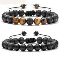 Bracelet réglable Bracelet Perle de pierre volcanique de lave Yoga Lava Huile Essentielle Diffuseur Perle Tressé Bangle guérison équilibre pour les hommes femmes