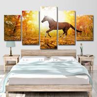 5 Pcs Chevaux Courant Affiche Mur Art HD Imprimer Toile Peinture De Mode Suspendre Photos