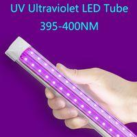 Viola colore rosa 395nm 400nm UVA LED Tube Luci 390NM UV LED Blacklight T8 integrato V a forma di lampadina di disinfezione a raggi ultravioletti Germ