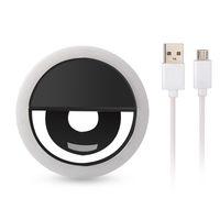 RK12 3 레벨 조절 LED 셀카 링 라이트 USB 충전 휴대용 플래시는 카메라 폰의 셀카 링 라이트 클립 비디오 라이트 나이트 강화를 주도