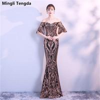 Mingli Tengda eleganti abiti da sera in pizzo con paillettes maniche a  sirena 1 2 247528bdf5d