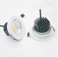 5W 7W 9W 12W Dimmable LED Downlight 110V 220V Светодиодные светодиодные светильники Оптовая Dimmable COB Светодиодные пятна утопленные огни белые LLFA