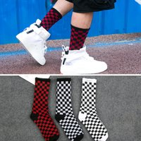 mens women designer brand socks sock checkered color trend c...