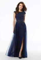 Mutter der Braut Kleider 2020 elegante A-Linie einer Seite schlitzt wulstige Satin Hochzeit Kleider Brautabendkleider Plus Size