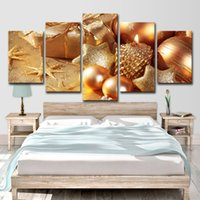 5pcs Gold Seashell Starfish Christmas Paintings Wall Art HD stampa su tela pittura moda appendere le immagini
