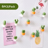 6Pcs / Conf Cactus Fridge Magnet Carino Pianta grassa magnete da frigorifero Messaggio Sticker decorazione domestica