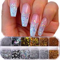 Nail Art Glitter Aluminium Foil 3D Flake Sticker UV Gel de polissage Chrome Flakes Pigment poussière Manucure Décorations