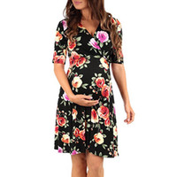 Nuovo stile Moda Abito da donna Abito premaman Mezza manica Scollo a V Abiti gravidanza Avvolgimento infermieristico