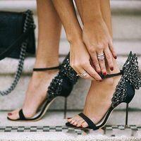 Webster Evangeline Sandal Artı Hakiki Deri Düğün Pompaları Pembe Glitter Ayakkabı Kadın Kelebek Sandalet