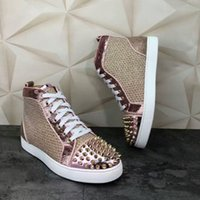 Luxurious High Top Fashion Shiny Studded Spikes Red Bottom S...