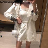 Nomikuma Elegant Blazer 2 Conjunto de peças Mulheres Lantejoulas De Cor sólida fato de Moda Duplo-de-peito-vermelho roupas novas Coreanas 3a791
