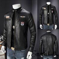 Emmababy Mens Retro Style zip Chiodo vera pelle morbida Coat Factory trasporto libero del nero casuale