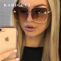 KADIGUCI Retro Abelha Quadrada Óculos De Sol Das Mulheres Designer De Marca de Metal Armação de Óculos de Sol Oversized Homens Da Moda Gradiente Shades Oculos UV400 K313
