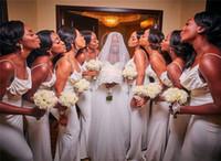 2019 elegante espagueti sirena dama de honor vestido barato blanco africano boda vestido vestido sexy larga fiesta parig miad de vestidos de honor