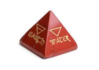 Pirámide de pirámide curativa de jaspe rojo tallado en chakra natural Reiki grabado 4 Elemental de la Tierra Agua Aire Fuego con una bolsa libre