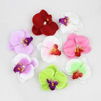 Simulation papillon Orchidée Fleurs tête Soie artificielle capitules pour la maison décoration de mariage bricolage Faux Fleurs 50pcs