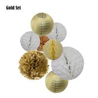 2019 8pcs / set Oro Plata 6 8 10 pulgadas tamaño de papel mixto redondas Linternas de la bola de Tejidos de Pom Pom del bebé ducha de la boda decoración de la fiesta de cumpleaños