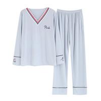 2018 Primavera Autunno 100% cotone con scollo a V Pigiama Set per le donne manica lunga pigiama pigiameria pigiama Homewear Pijama Mujer vestiti