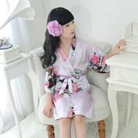 Детские халаты сатиновые детские летние кимоно банные халаты платье для подружки невесты платье для девочек шелковый детский халат ночная рубашка павлин халат